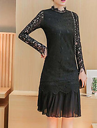 Women's Going out Sheath Dress,Solid Crew Neck Knee-length Long Sleeve Cotton Spring Mid Rise Micro-elastic Thin