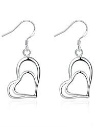 XU Women Fashion Heart-shaped Silver Earrings