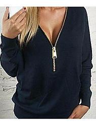Damen Solide Einfach Formal T-shirt,V-Ausschnitt Langarm Baumwolle
