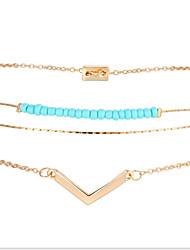 Charm Bracelet Alloy Acrylic Alphabet V Blue Beads Fashion Women's Jewelry