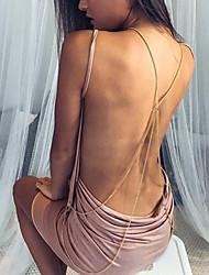 Femme Dos Nu Moulante Gaine Robe Sortie Décontracté/Quotidien Vacances Sexy Chic de Rue Sophistiqué,Couleur Pleine A BretellesAu dessus du