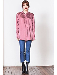 Women's Going out Simple Shirt,Solid Shirt Collar Sleeveless Others