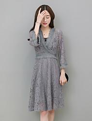 знак пружинных женщин корейских тонкие тонких талий пассива кружево труба рукав v-образный вырез платье женщин