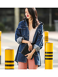 2017 denim jacket female wild leisure big pockets loose long coat
