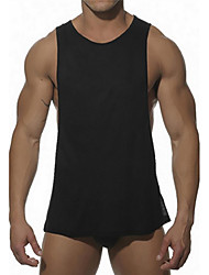 Men's Sports Going out Beach Holiday Casual/Daily Simple Street chic Active All Seasons Summer Tank Top,Solid Round Neck SleevelessCotton