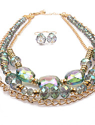 Jewelry 1 Necklace 1 Pair of Earrings Statement Necklaces Euramerican Wedding Party Special Occasion Daily Glass 1set Gold Light Green