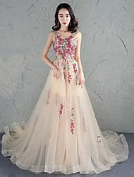 Formal Evening Dress A-line Jewel Chapel Train Tulle with Appliques