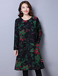 Sign National Wind women new Korean yards loose long-sleeved cotton dress long section Fan Art