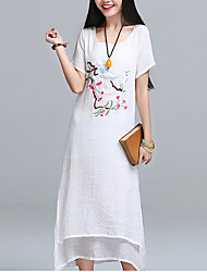 Sign 2017 spring and summer new Chinese style embroidery loose cotton round neck leave two national wind dress