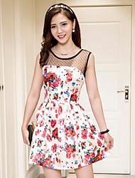 signe été nouvelles femmes&# 39; star de la mode fan bingbing même robe d'impression de couture dentelle paragraphe
