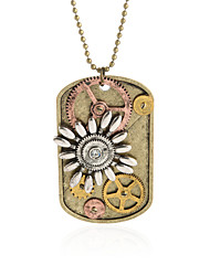 Vintage Pendant Necklace Gear Charm Steampunk Necklaces-Flower Dog