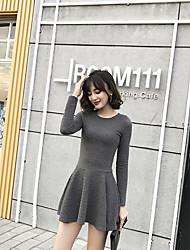 Sign 2016 autumn round neck jacquard knit waist Hepburn Wind bottoming skirt A word skirt dress