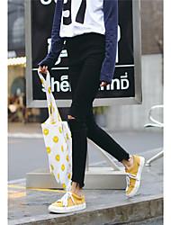 firmar la nueva versión coreana del agujero negro fue cintura jeans delgados pantalones lápiz pantimedias femenina
