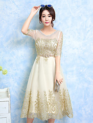 Tea-length Jewel Bridesmaid Dress - Elegant Half Sleeve Lace Tulle