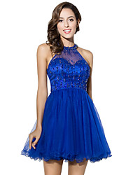 Cocktail Party Dress Ball Gown Halter Short / Mini Tulle with Beading