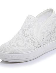 Белый Черный Розовый-Для женщин-Для офиса Для праздника Для вечеринки / ужина-Тюль Полиуретан-На танкетке-клуб Обувь Кольцевые обувь-Кеды