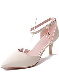 Damen High Heels Komfort Pumps Kunstleder Sommer Hochzeit Kleid Party & Festivität Komfort Pumps Stöckelabsatz Weiß Schwarz Beige 5 - 7 cm