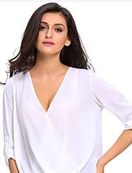 Damen Solide Einfach Lässig/Alltäglich T-shirt,Tiefes V Frühling Sommer ¾-Arm Kunst-Pelz Lichtdurchlässig