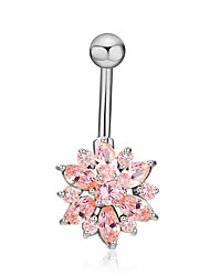 Women's Body Jewelry Navel Rings/Belly Piercing Friendship Stainless Steel Flower Jewelry For Gift Casual Valentine 1pc