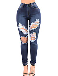 Women's Blue Denim Wash Ripped Cutout Skinny Jeans