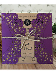 Purple Wedding Invitation Cards Laser Cut Wedding Invitation - Set of 50