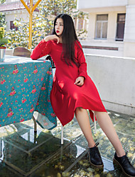 Feminino Chifon Vestido,Para Noite Simples Sólido Decote Redondo Altura dos Joelhos Manga Longa Algodão Primavera Cintura Baixa