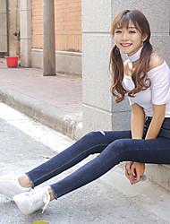 615 # signe pieds élément d'entraînement était mince pantalon en denim taille femme crayon stretch version coréenne du printemps 2017