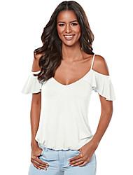 Damen Solide Einfach Ausgehen Strand Urlaub T-shirt,Gurt Sommer Kurzarm Polyester Elasthan Mittel