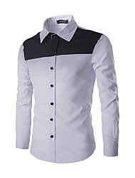 The Latest Men's Black And White Color Design Long-Sleeved Shirt
