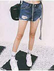 Nouvelle version coréenne de bavures de denim shorts de printemps nouvelle hanche féminine était mince pantalon de bottes pantalons courts