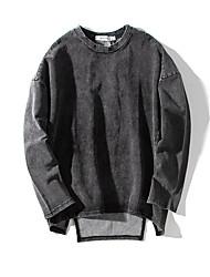 Sweatshirt Homme Décontracté / Quotidien Couleur Pleine Col Arrondi Micro-élastique Spandex Manches Longues Printemps