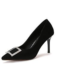 Damen-High Heels-Kleid-Wildleder-Stöckelabsatz-Komfort-Schwarz Grau Rosa