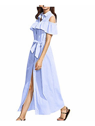 Casual wear blue striped maxi dress Beach Wedding Dresses Spring Summer 2017 sleeveless vest skirt