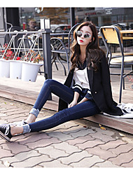 Women's Low Rise Micro-elastic Jeans Pants,Cute Skinny Chiffon Solid