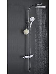 Contemporary Shower System Rain Shower Widespread with  Ceramic Valve Two Handles Three Holes for  Chrome , Shower Faucet