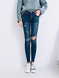 sinal joelho estiramento furo 2017 versão coreana do fino foi finas calças lápis pés nove pontos de jeans