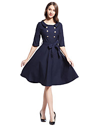 Women's Casual/Daily Sophisticated Skater Dress,Solid Round Neck Knee-length ½ Length Sleeve Others All Seasons Mid Rise Micro-elastic