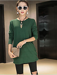 Women's Casual/Daily Simple Loose Dress,Solid Round Neck Mini Long Sleeve Rayon Spring High Rise Micro-elastic Thin