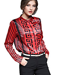 Women's Casual/Daily Work Chinoiserie Spring Summer Shirt,Print Shirt Collar Long Sleeve Cotton Thin