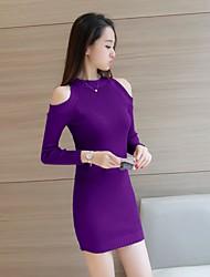 Sign Autumn Dress Korean sexy leakage shoulder long-sleeved dress Slim package hip bottoming knit skirt split