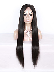 130% Density Brazilian Virgin Hair Full Lace Wig Long Straight Hair Natural Black Color Human Virgin Hair Lace Wig For Black Woman