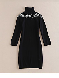 Women's Going out Casual/Daily Sheath Dress,Solid Round Neck Mini Long Sleeve Wool Fall Mid Rise Micro-elastic Medium