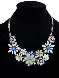 Women's Statement Necklaces Multi-stone Crystal Rhinestone Flower Jewelry Crystal Resin Rhinestone Alloy Fashion Euramerican Floral