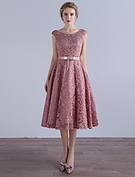 Cocktail Party Dress A-line Scoop Tea-length Lace with Bow(s)