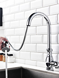 Kitchen Faucet Tall/High Arc Pull-out/Pull-down Standard Spout Centerset Thermostatic Rain Shower Pullout Spraywith Taps for Kitchen