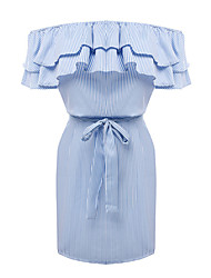 Women's Off Shoulder/Fine Stripe/Ruffles and Frills Casual/Daily /Party Vintage /Street chic Sheath Dress,Jacquard Round Neck Above Knee