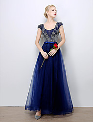 Formal Evening Dress A-line Scalloped Floor-length Tulle with Beading