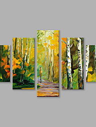 Hand-Painted Abstract Landscape Vertical Panoramic,Modern Five Panels Canvas Oil Painting For Home Decoration