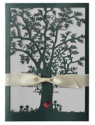 Green Tree Wedding Invitations White Ribbon Invitation Cards - Set of 50