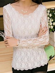 новая корейская версия культивирования с длинными рукавами шеи дна рубашки волнистого краем волны край кружево рубашка женщины